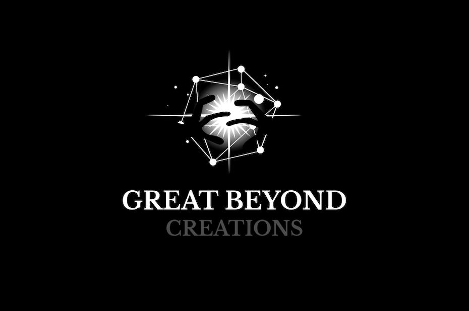 A futuristic logo featuring celestial imagery