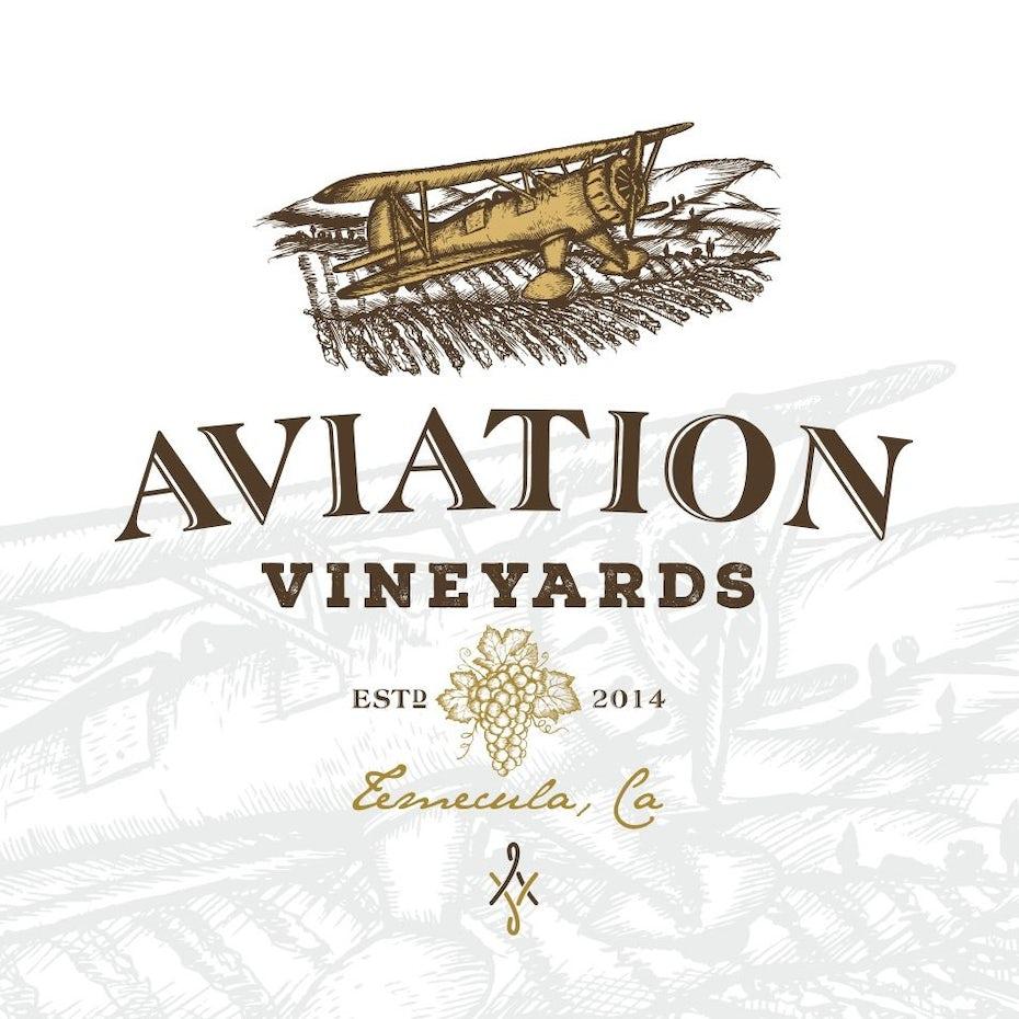 Aviation Vineyards wine logo