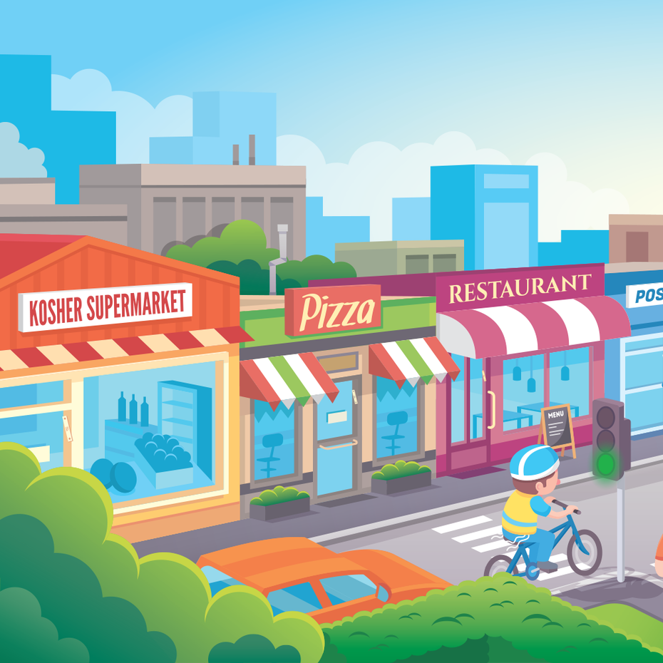 a supermarket, a pizza shop and a restaurant