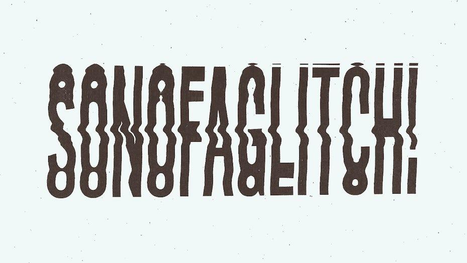 Glitch art lettering