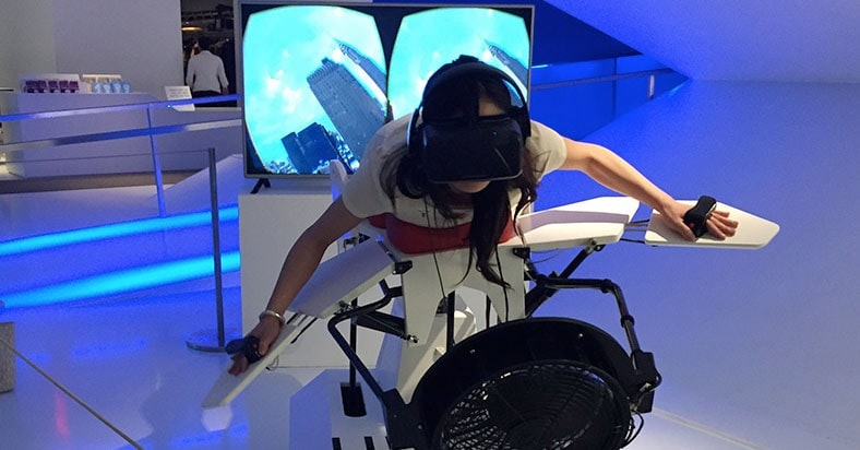Birdly VR flight simulation