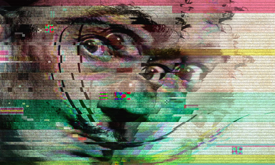 distorted glitch art portrait