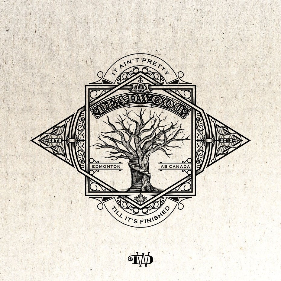 "intricate logo showing a staircase carved into a tree with the text ""deadwood"""
