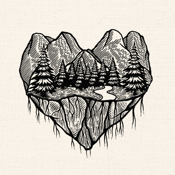 heart made of mountains and forest