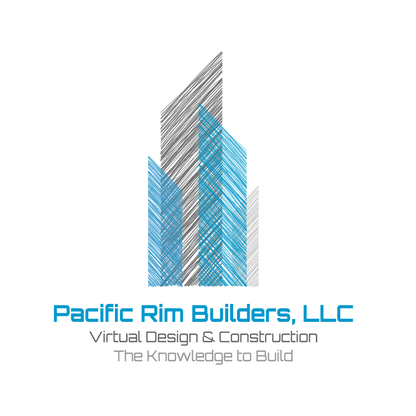 "three rectangles, two gray and one blue, with the text ""pacific rim builders"""
