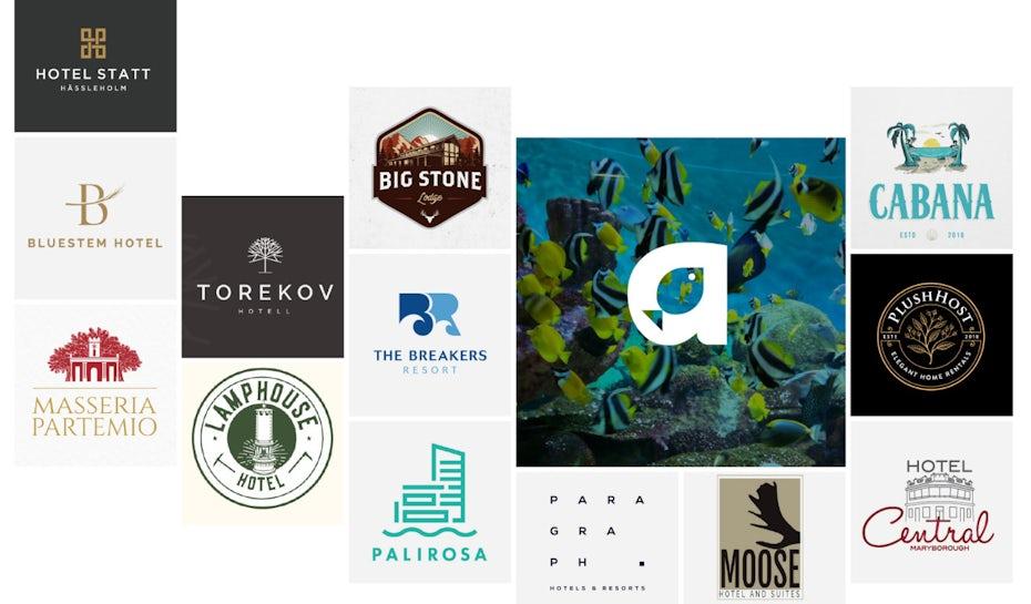 Collage de différents logos d'hôtel réussis