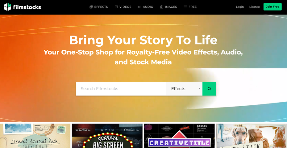 Filmstocks homepage library of stock footage