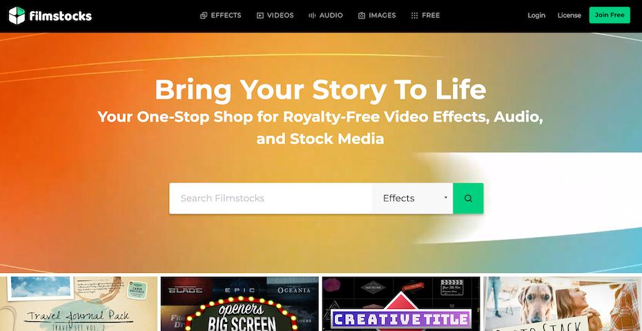 Filmstocks homepage library of stock footage