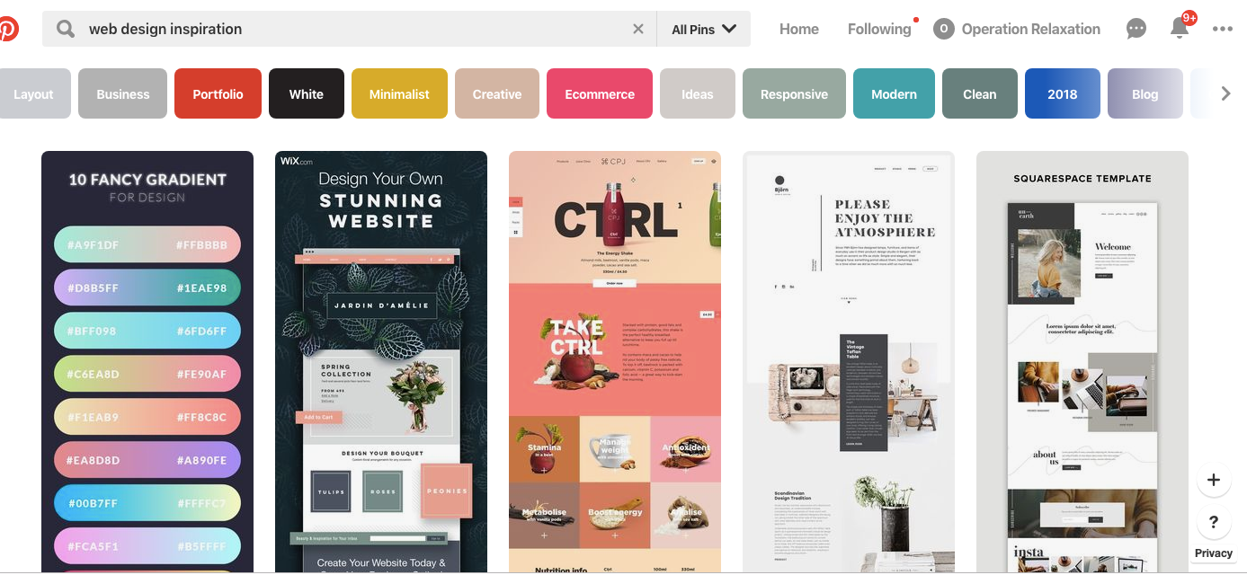 Pinterest web design search