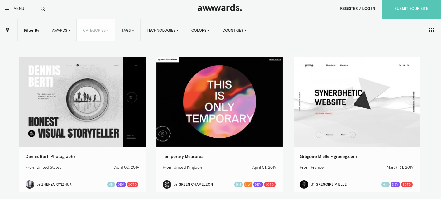 Awwwards homepage