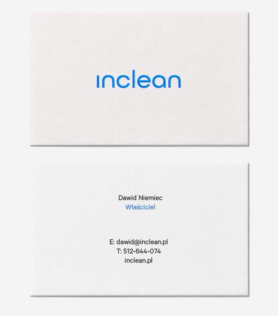 Inclean business card design