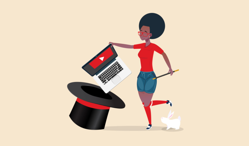 illustration of woman pulling laptop out of a hat