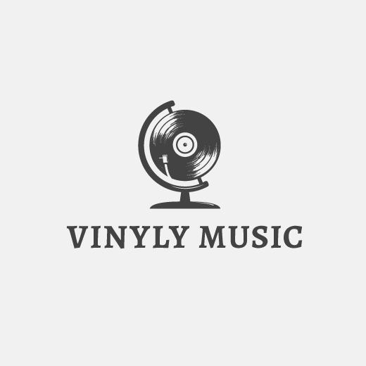 vinyl as a globe logo