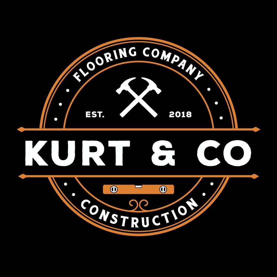 "round logo with two hammers and the text ""kurt & co. construction flooring company"""