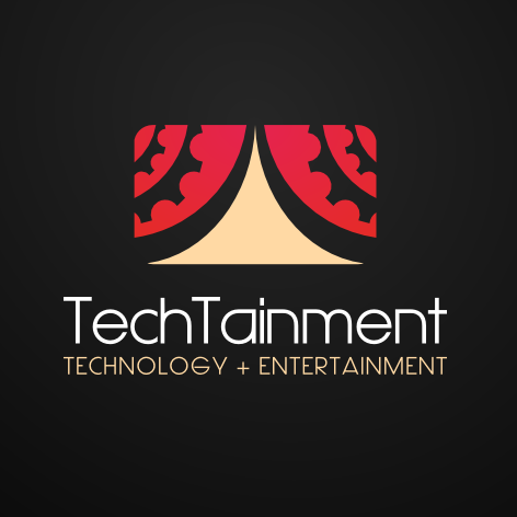 "stylized image of a stage with red curtains and the text ""TechTainment technology + entertainment"""