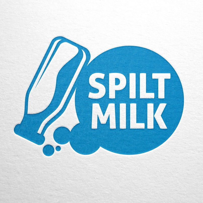 "blue and white image of an upside-down milk bottle and the text ""spilt milk"" in a circle beside it"