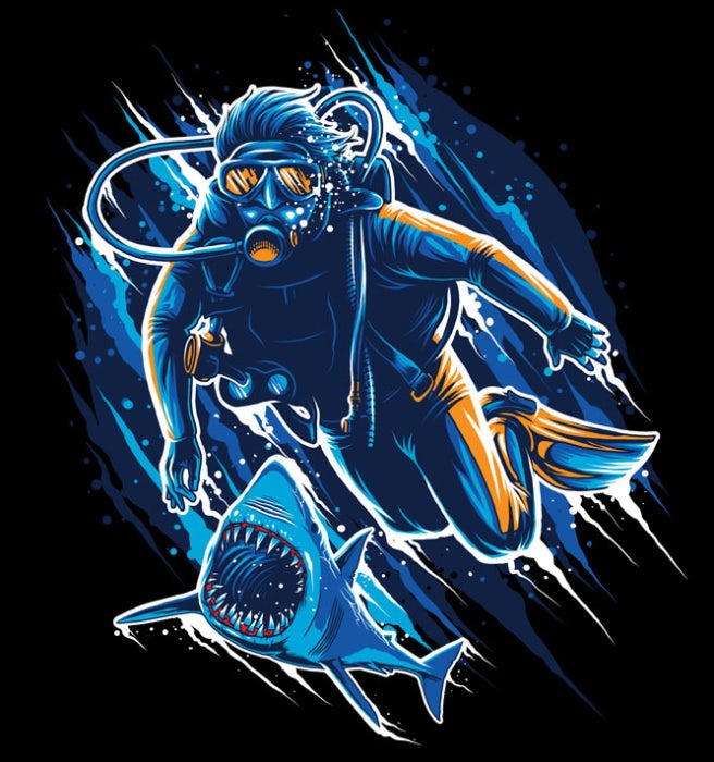 Shark chasing diver illustration