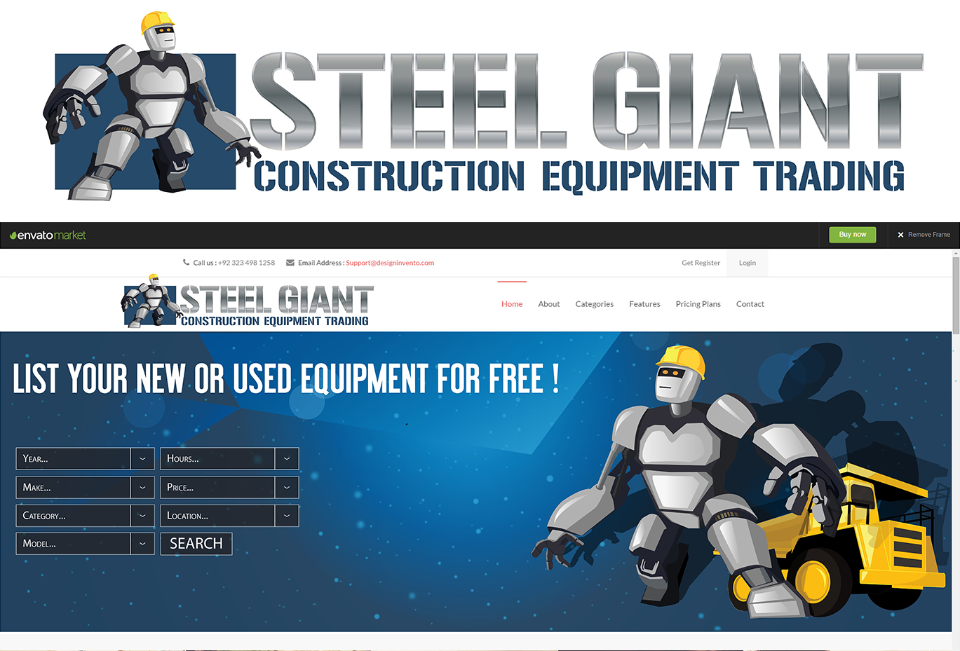 "robot wearing a hardhat with the text ""steel giant construction equipment trading"""