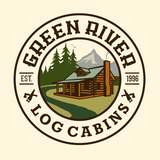 "round logo showing an image of a log cabin with the text ""green river log cabins"""