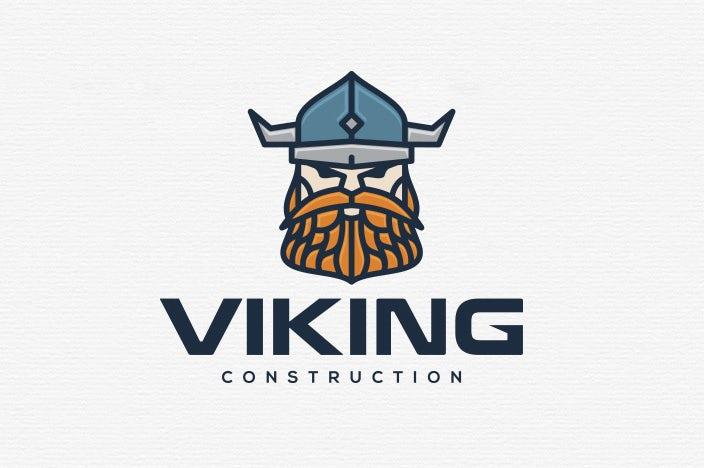 "illustration of a viking's face with the text ""viking construction"""