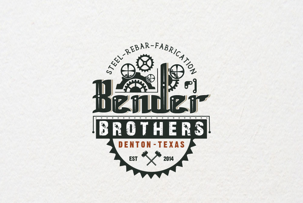 "oval logo with the text ""steel-rebar-fabrication bender brothers"" with interlocking gears"