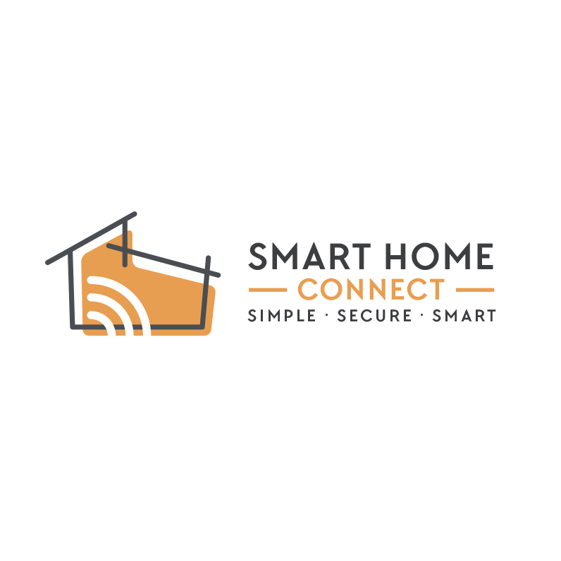 "minimalist line drawing of a small house with the text ""smart home connect"""