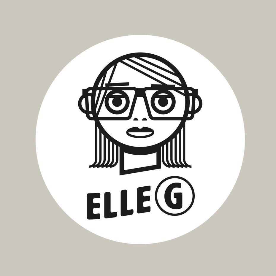 "line drawing of a woman wearing glasses and the text ""elle G"""