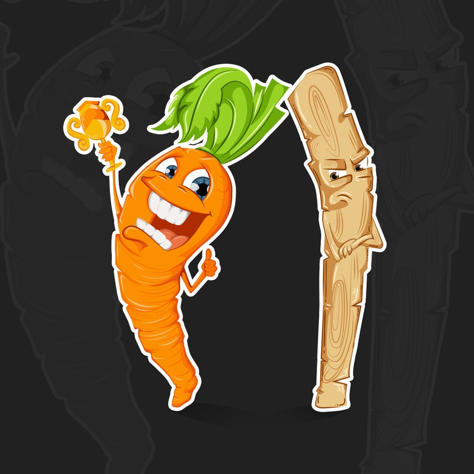 happy carrot with reward and unhappy stick