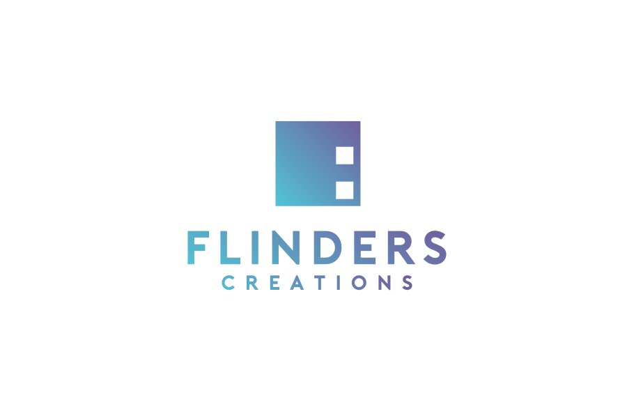 "blue and purple gradient square with the text ""flinders creations"""
