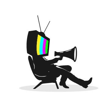 Logo illustration of a man with a TV for a head holding a megaphone