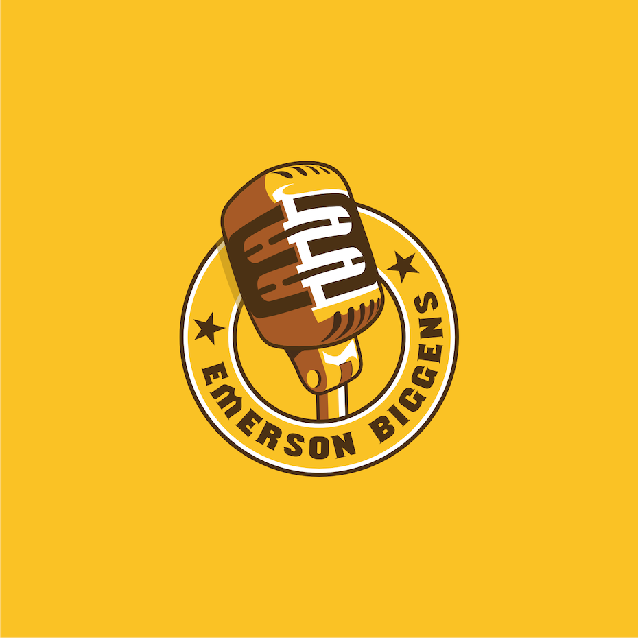 "Yellow logo featuring a microphone and the text ""emerson biggens"""