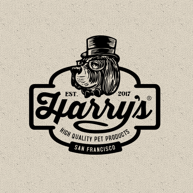 vintage dog logo that combines script and sans serif fonts
