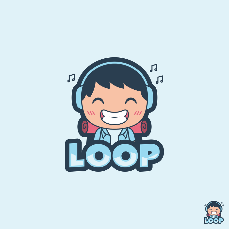 cartoon character with headphones logo