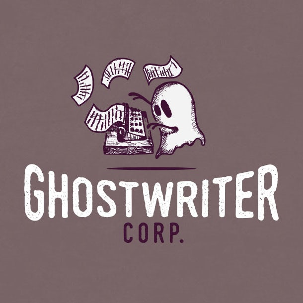 Logo design of a ghost at a typewriter