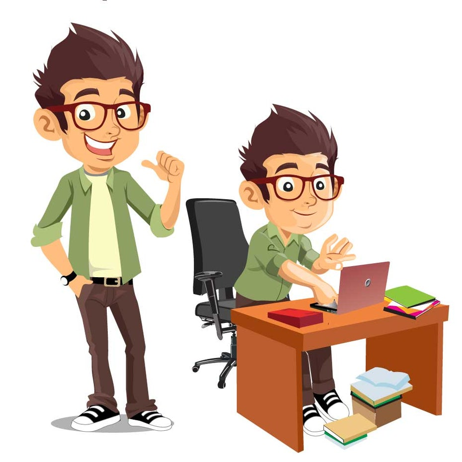 Character design of an employee at their desk
