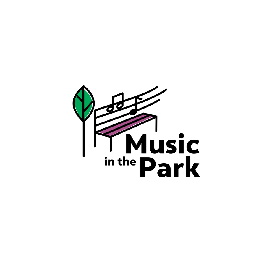 "line drawing of a park bench with a tree beside it and music notes on the bench with the text ""music in the park"""