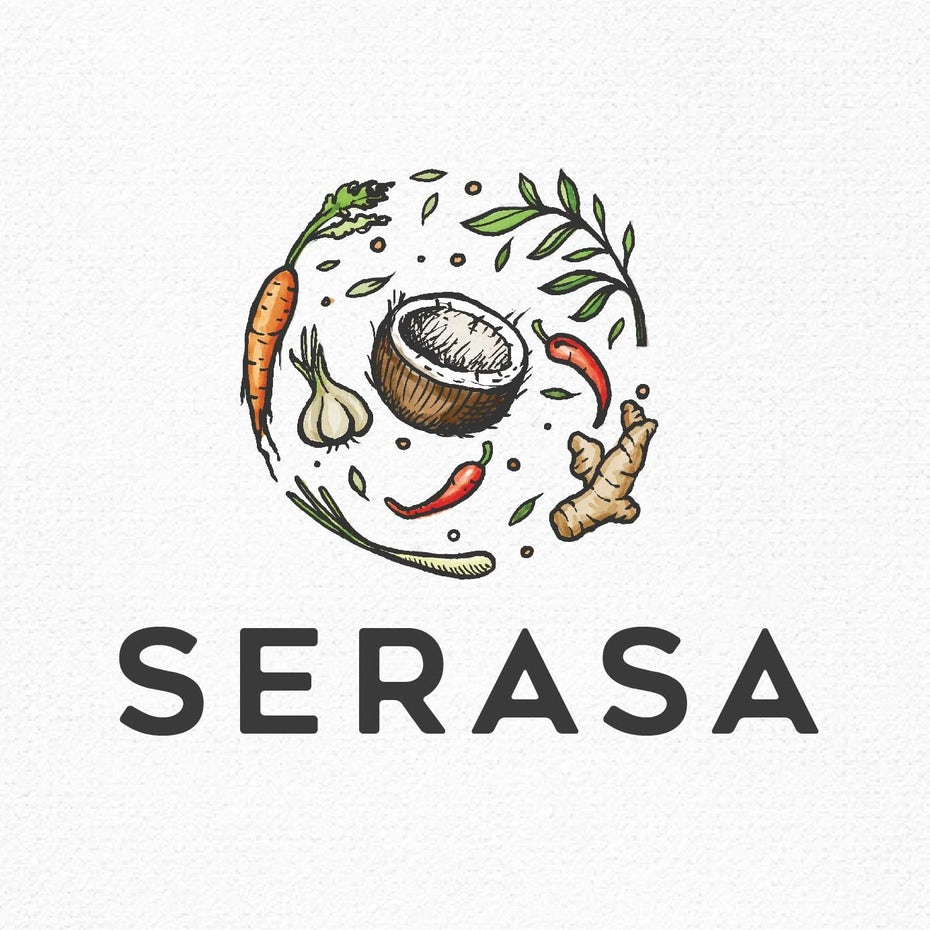 food logo with detailed ingredients