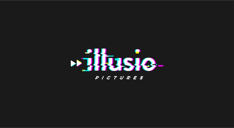 "glitch-style image of the words ""illusio pictures"""
