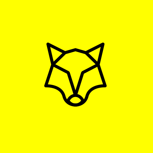 geometric image of a wolf's head against a bright yellow background