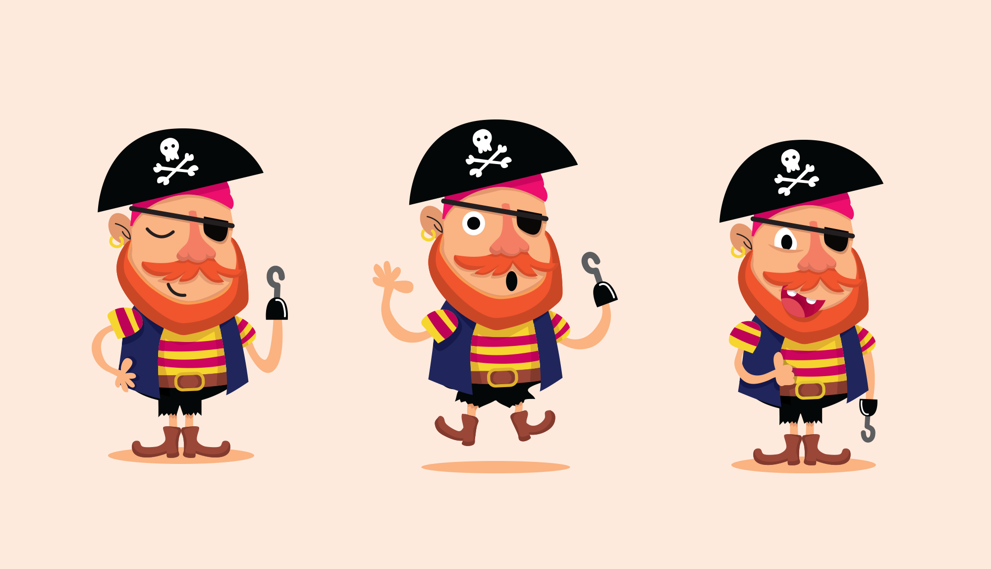 A pirate character with a hook for a hand