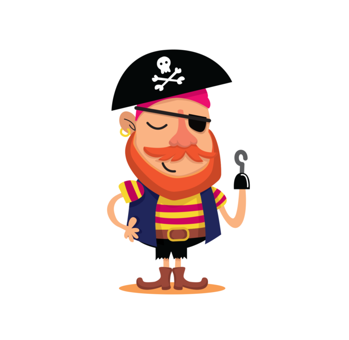 illustration of pirate with a hook for a hand