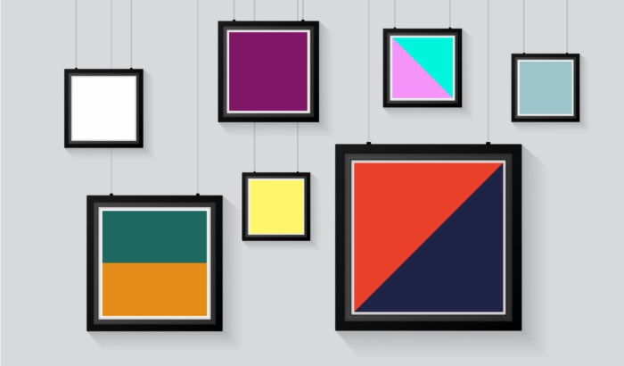 picture frames filled with different colors