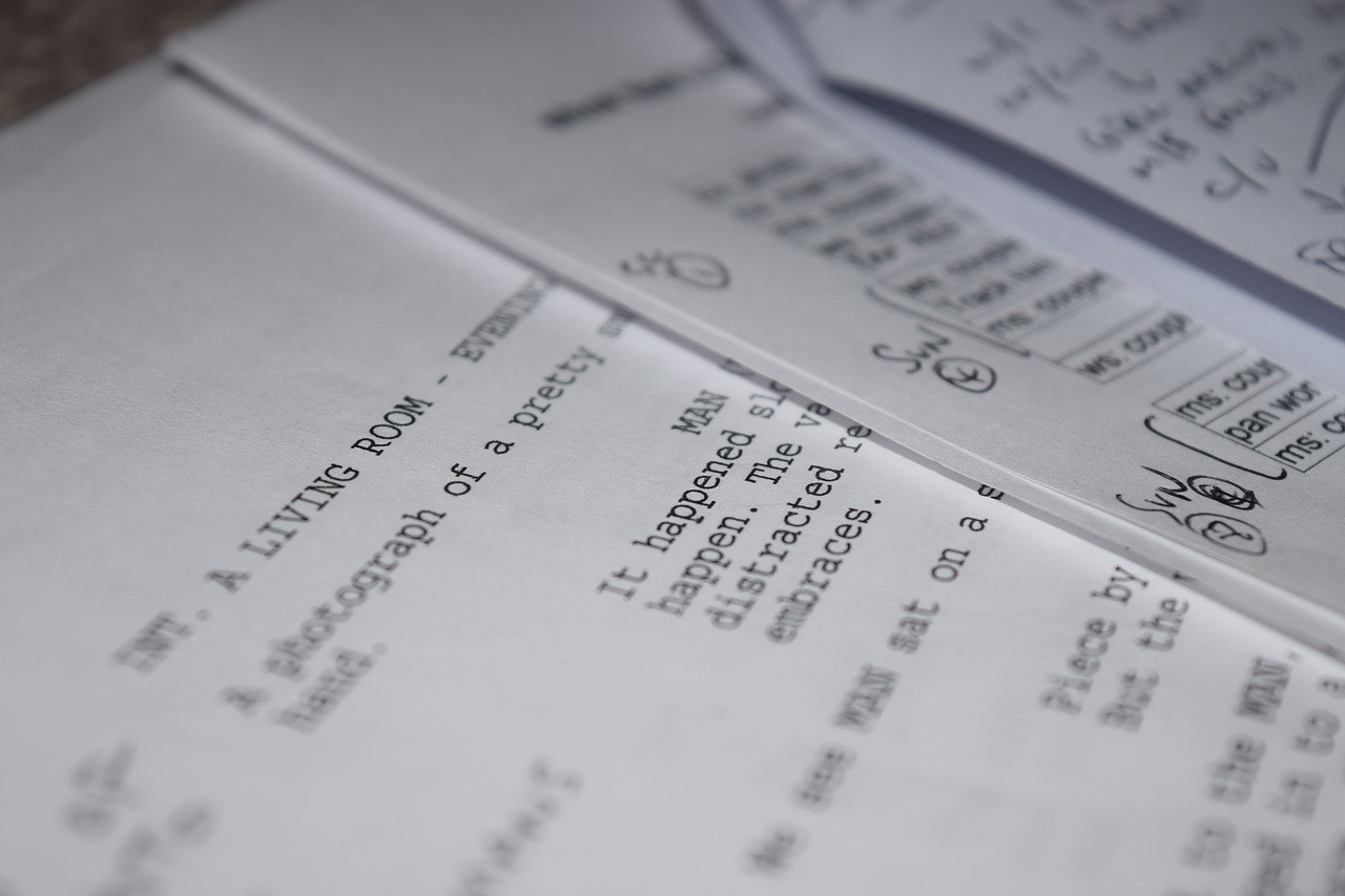 Photo of a sample film script