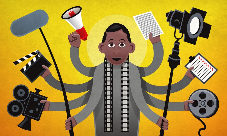 illustration of filmmaker with video production tools