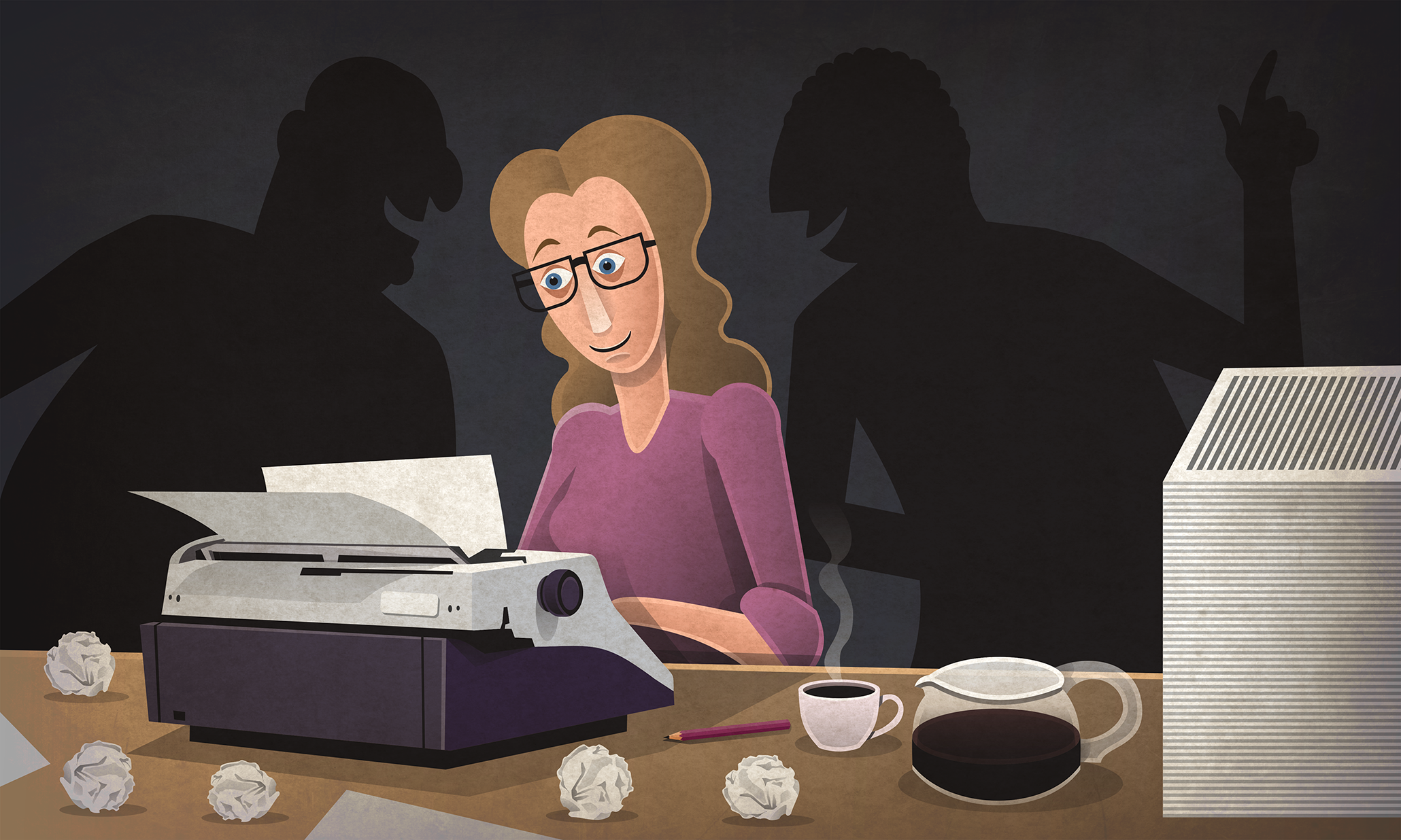 illustration of woman writing script on typewriter
