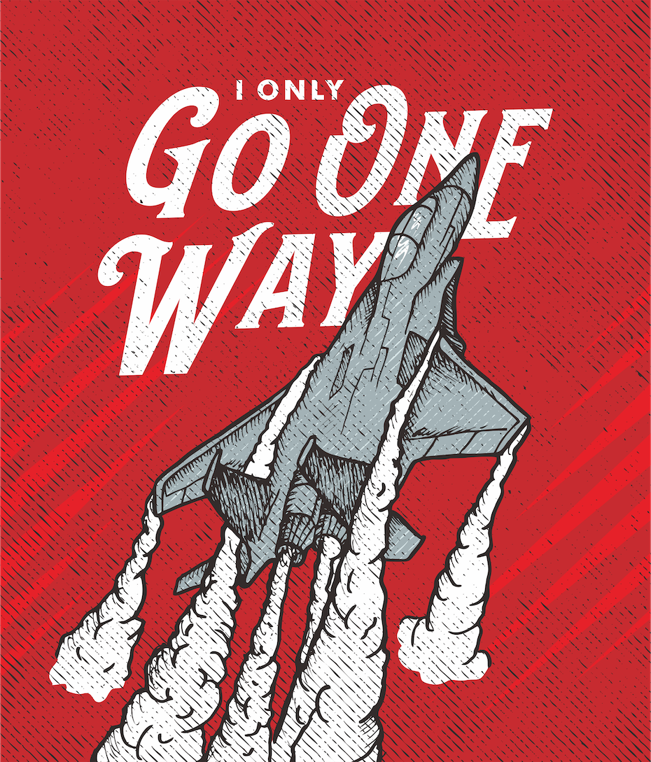 A motivational illustration poster showing a jet blasting off
