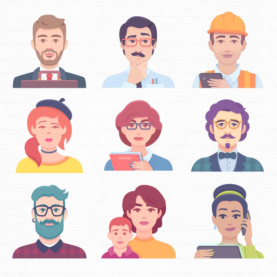 Jeder lernt anders: Porträtabbildungen verschiedener Avatare und Charaktertypen