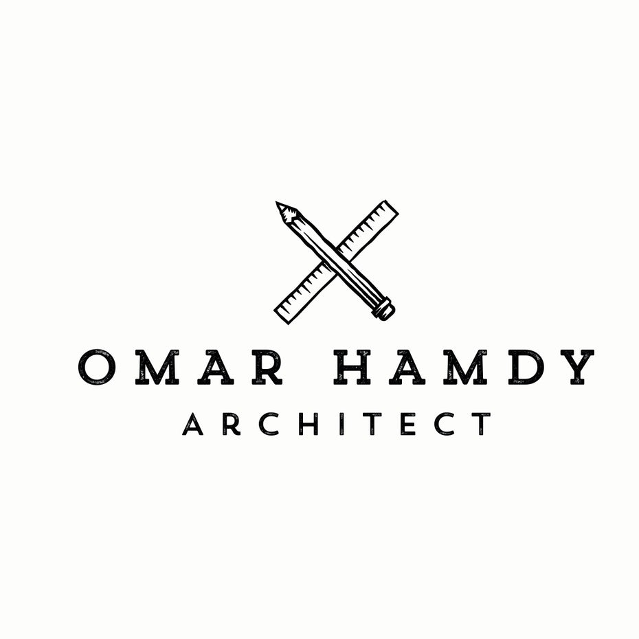 "a pencil and a ruler crossed over each other with the text ""Omar Hamdy Architect"""