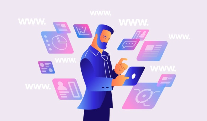 illustration of man surrounded by floating websites