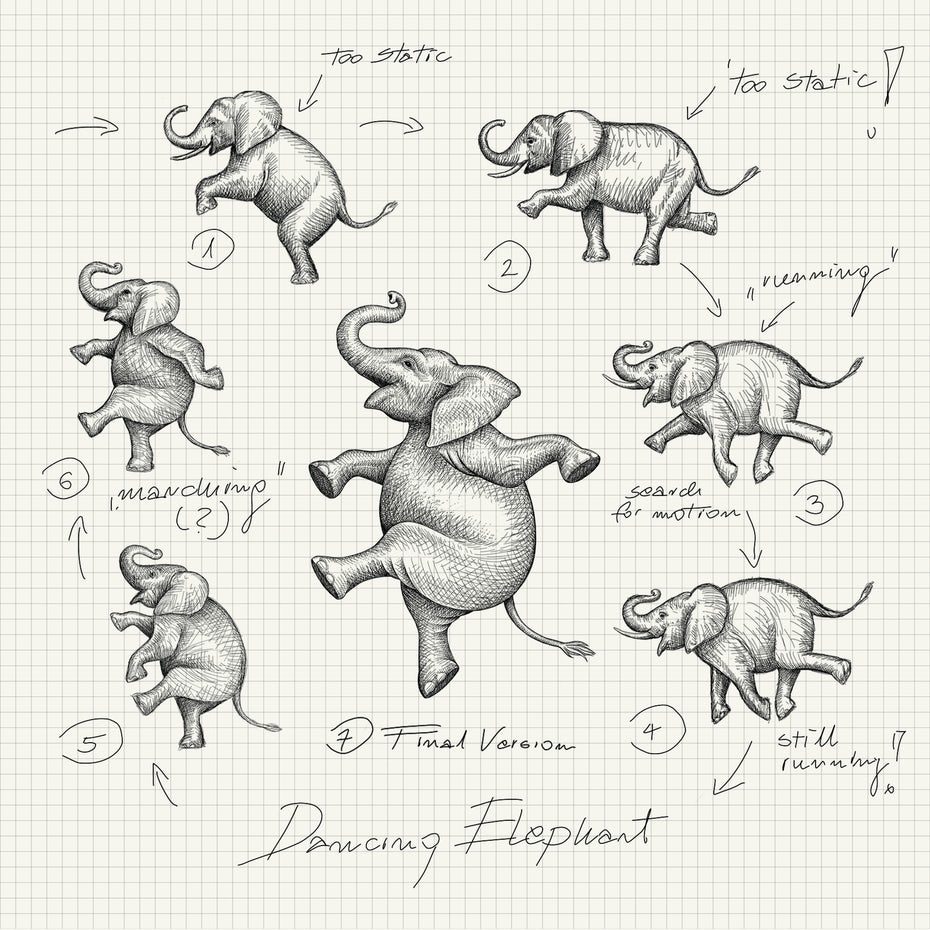 dancing elephant logo design sketch process